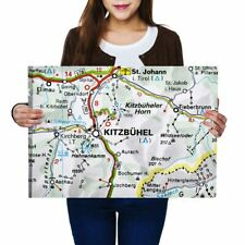 A2 - Kitzbuhel Austria Town Europe Travel Map Poster 59.4X42cm280gsm #45478
