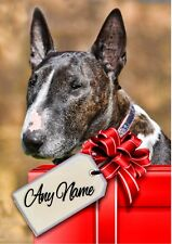 ENGLISH BULL TERRIER DOG CHRISTMAS or BIRTHDAY CARD  Personalised inside & out