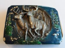 Vintage 1990 Heavy Solid 3D Buck Hunting Quality Brass Belt Buckle RARE