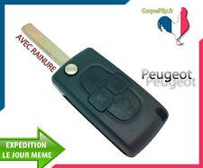 Coque Télécommande Plip 4 Boutons Peugeot 807 1007 + clé AVEC rainure