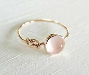 Beautiful 18K Rose Gold Filled Pink Moonstone Ring Engagement Women Jewelry Sz 7
