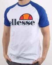 Ellesse Cassina T Shirt in White & Royal Blue - raglan crew tee, retro 80s 90s