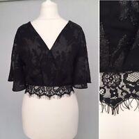 Miss Selfridge Crop Top 10 Short Flare Sleeves V Neck Black Shrug Bolero Eyelash