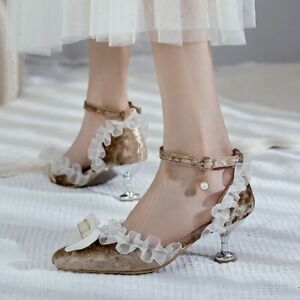 Womens Sexy Kitten Heel Shoes Pointy Toe Velvet Lace Sandals Pumps Party Shoes