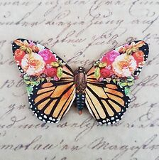 KiTsCh ORANGE RED PINK BLACK BUTTERFLY ROSES FLOWER WOODEN BROOCH BADGE PIN 63mm