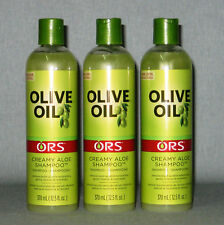 3 x ORS Organic Root Stimulator Olive Oil Creamy Aloe Hair Shampoo 370ml