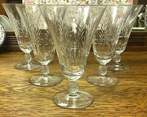 Set of 6 Bryce Crystal Wine Iced Tea Water Glasses Thumbprint Wheat Ball Stem