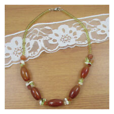 """19"""" Carnelian Natural Stone Necklace Chunky Healing Festival Statement Yoga 136"""