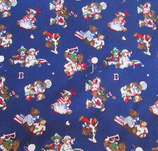 Fabric 6.38 Yards Springs Palencia Combed Broadcloth Teddy Bears on Dark Blue