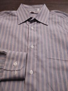 LUCIANO BARBERA Men's 100% Cotton Size 38 15 34 BLUE Red & White L/S Shirt