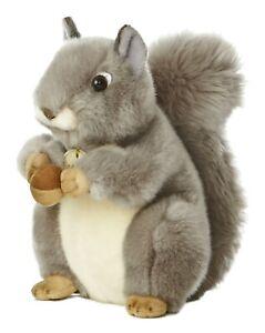 "New AURORA MIYONI Soft Stuffed Plush Toy GRAY SQUIRREL PINE CORN NUT Animal 10"""