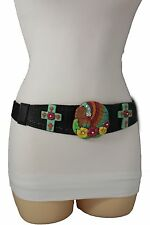New Women Black Elastic Waistband Western Belt Turquoise Cross Indian Flower S M