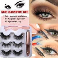 SKONHED 3 Pairs Magnetic Eyelashes With 1 Pc Magnetic Eyeliner and Tweezer Set