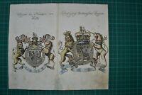 Wappen König Großbritannien, Prinz von Wallis +Stammtafeln 1759  Kupferstich, EA