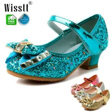 Girls Kids Childrens Mid Heel Party Wedding Mary Jane Sparkly Sequins Sandals AU