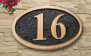 Personalised  3D Carved Home Number Wooden Oak/Pine Sign Plaque Outdoor