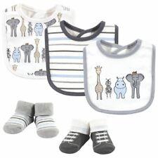 Hudson Baby Boy 5pc Bib & Sock Set, Royal Safari, 0-9 Months