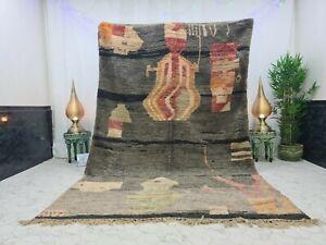 "Handmade Moroccan Vintage Boujad Rug6'6""x10'1"" Berber Abstract Gray Red Wool Rug"