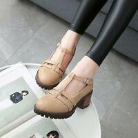 Mary Jane Buckle T-strap Platform Chunky Heels Women Pump Shoes Brogue British