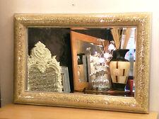 Crackle Bow Design Parete Specchio Champagne ARGENTO CORNICE VETRO MOSAICO 120x80cm