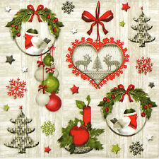 4x Tovaglioli di carta per Decoupage Decopatch Vintage Natale
