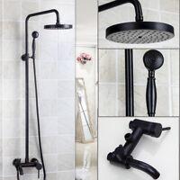 Black Bathroom Dual Handle Rainfall Shower Faucet Set Tub Mixer Tap i3