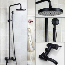 Black Bathroom Dual Handle Rainfall Shower Faucet Set Tub Mixer Tap i3