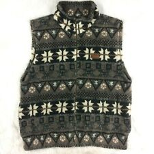 Marker Mens Large Teddy Bear Fleece Vest Outerwear Gray Brown Snowflake Nordic