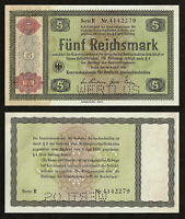 GERMANY 5 Reichsmark 1934 P-207 WERTLOS Perforated AUNC Almost Uncirculated