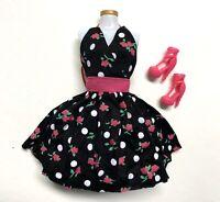 "Barbie Doll Black Dress White Polka Dot & Shoes Set for 12"" Doll Fashion Pack"