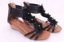 Women's Flower Sandals Wedge Heel Buckled Ankle Strap shoes Black