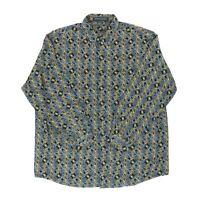Jhane Barnes Men XL 53 Long Sleeve Button Shirt Cotton Circle Abstract Geometric