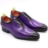 Brogue Mens Real Leather Business Shoes 7 Color Wedding Oxfords Carved Formal L
