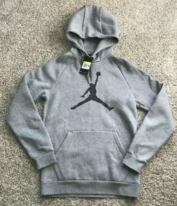 Jordan Men's Jumpman Logo Fleece Pullover Hoodie Grey DA6801 Size Small