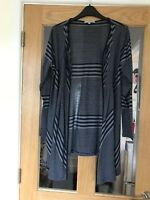 Per Una Size 14 Blue And Grey Striped Thin Material Cardigan