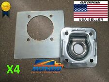 Set of 4-Recessed Floor D Rings w Backing Plate Enclosed Cargo Trailer Tie Down