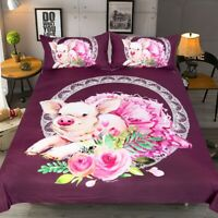 Novelty Funny Ballet Pig Flower Adult Kids Bedding Duvet Quilt Cover Pillowcase