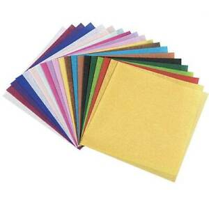 """2-POMPS Tissue Paper Squares 5.5"""" x 5.5"""" 300 Sheets - Assorted 20 Colors New"""
