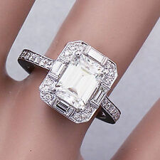 14K SOLID WHITE GOLD EMERALD CUT DIAMOND ENGAGEMENT RING DECO 2.20CTW