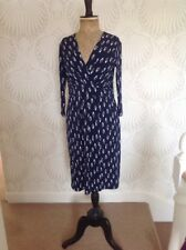 Austin Reed Ladies Navy Blue Stretch Faux Wrapover Office Dress Size 12