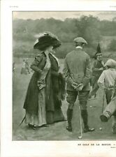 Publicité ancienne au golf de la Boulie dessin de J. Simon 1909 issue magazine