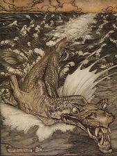 Arthur RACKHAM il Leviatano Serpente Marino dell'Oceano Fairytale Fata Stampa montata