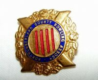 VINTAGE ENAMEL NORTHUMBERLAND COUNTY BOWLING ASSOCIATION BROOCH / BADGE / PIN