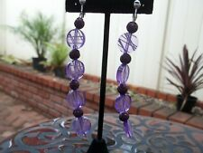 Beads Dangling Clip On Earrings Gorgeous Purple/White Round & Purple Flower