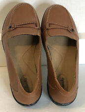 Clarks Womens Brown Leather Comfort Clog Wedge Loafers 26069443 Size 10W