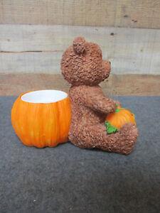 Fall Halloween Planter Pot Resin Pumpkin & Teddy Bear
