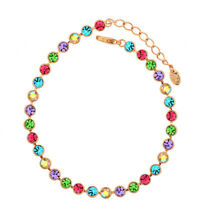 Designer Yellow Gold Plated Sparkly Multi Color Austrian Crystal Tennis Bracelet