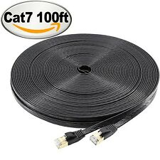 NCElec Flat STP Cat7 Ethernet Cable Safe for In-wall and Outdoor Use (100Ft B...