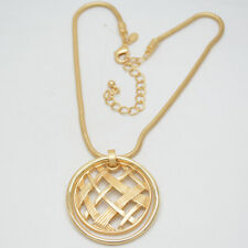 chico's jewelry matte gold tone openwork pendant large circle necklace chain