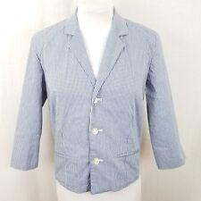 Ralph Lauren Womens Jacket Short Blazer M Blue White Gingham Check